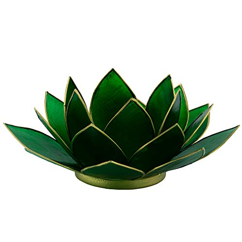 aqasha Lotus Bougeoir en Forme de Cachemire Vert 16 x 15 x 8 cm
