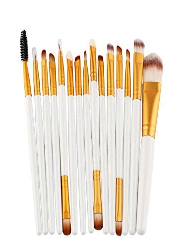 Keepwin 15 Pcs/Set Pinceau De Maquillage Set Outils Maquillage Trousse De Toilette Make Up Brosse Set Foundation Poudre Pinceau, Brosse à Lèvres, Fard à Paupières, Pinceau Eyeliner (Blanc)