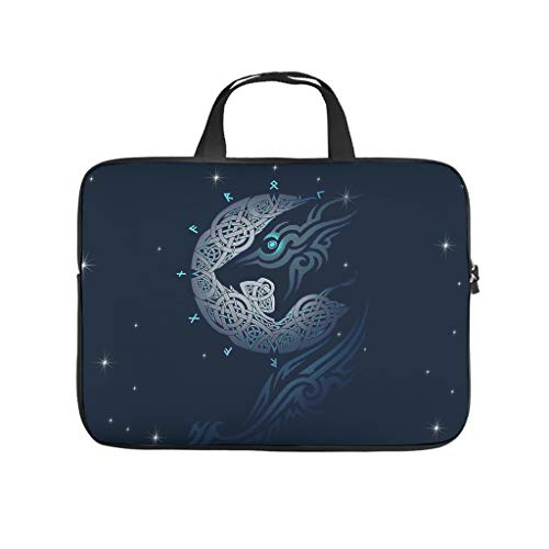 Lightweight Water-Repellent Twin Ravens in Mythology Viking Laptop Case Bag Carry On Handle Case - for Notebook white6 13 Zoll
