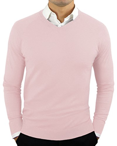 CC Perfect Slim Fit V Neck Sweaters for Men | Lightweight Breathable Mens Sweater | Soft Fitted V-Neck Pullover for Men Pink
