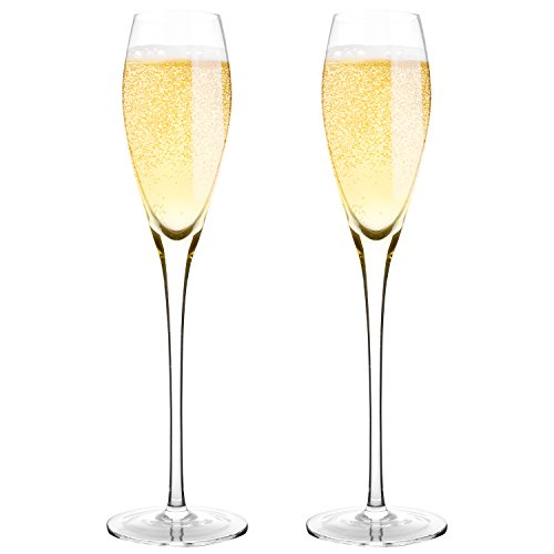 """Bella Vino Hand Blown Crystal Champagne Flutes - Bella Vino Standard Champagne Glasses Made from 100% Lead Free Premium Crystal Glass,Perfect for Any Occasion,Great Gift, 10.5"""", 7 Oz, Set of 2, Clear"""