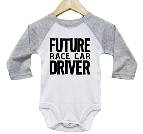 Ebenezer Fire Baby Nascar Outfit/Future Race Car Driver/Raglan Onesie/Newborn Bodysuit (6-12M, Grey)