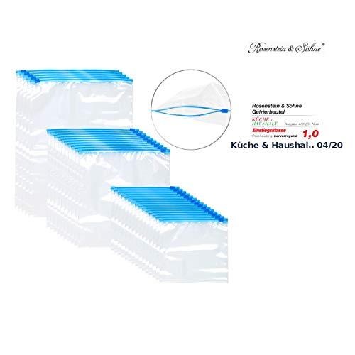 Rosenstein & Söhne Gefrierbeutel: 30 Zip-Verschluss Gefrier-Beutel, 1/3/6 Liter, 68 µm (Gefriertüten)