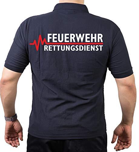 Poloshirt Navy, Feuerwehr - Rettungsdienst mit roter EKG-Linie M