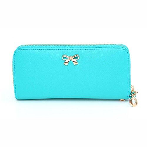 Toraway Wallet, New Hot Women Korean Cute Bowknot Purse Wearable Wallets Wristlet Handbags (Light Blue)