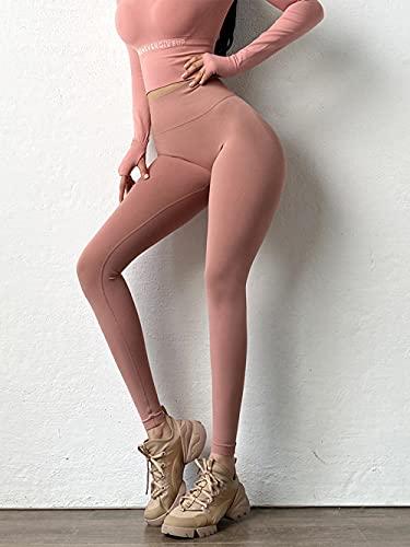 Alta Cintura Leggings Sport Pantalones,Pantalones de Yoga Ajustados elásticos, Pantalones de Aptitud de Cadera de Cintura Alta-Rosa_L,Leggings Push Up Mujer Mallas Pantalones