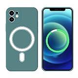 Funda Silicone Case Compatible con iPhone 11 6.1', Magnética Carcasa Compatible con Carga Inalámbrica, Carcasa de Silicona Líquida Suave Case para iPhone 11 6.1'-Verde Oliva