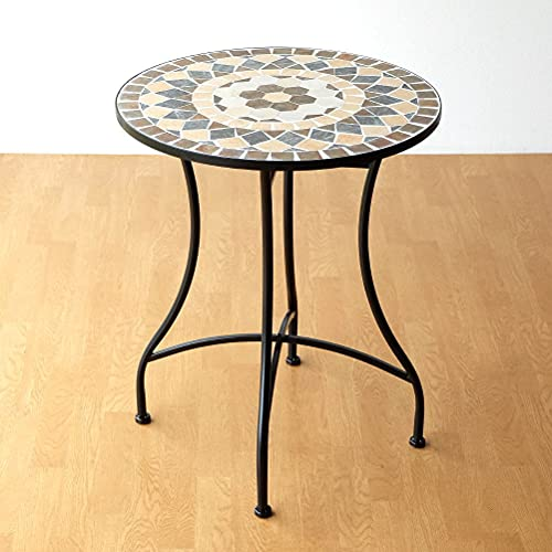 ガーデンテーブル タイル おしゃれ かわいい アイアン 円形 丸型 モザイクガーデンテーブル スモールフラワー