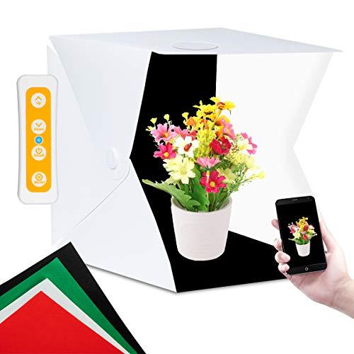 Fotostudio, Mefine Fotobox Lichtzelt 40x40x42 cm Faltbare Fotozelt Fotografie mit LED Beleuchtung, 2 Eingebaute LED Streifen, Lichtwürfel Fotostudio mit 4 Hintergrund (Weiß/Schwarz/Rot/Grün)