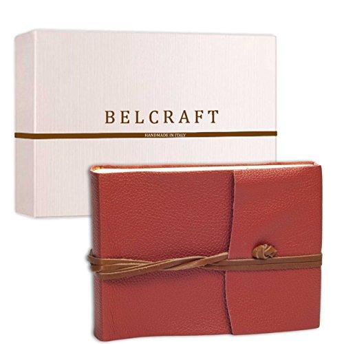 Belcraft Capri Álbum de Fotos de Piel Italiana, Hecho a Mano, Incluye Caja, A5 (16x21 cm) Coral