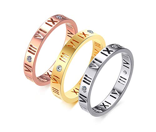 Vnox Stainless Steel CZ Roman Numeral Ring for Women Girls,Rose Gold Plated/Silver (3...