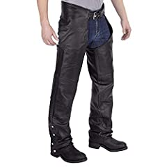 QUICK AND EASY – Viking Cycle leather motorcycle chaps are easy to put on and take off because of the front belt and lace closure back. You can quickly put them on while going for a ride with side outer seam zipper, snap bottom closure. ADJUSTABLE BE...