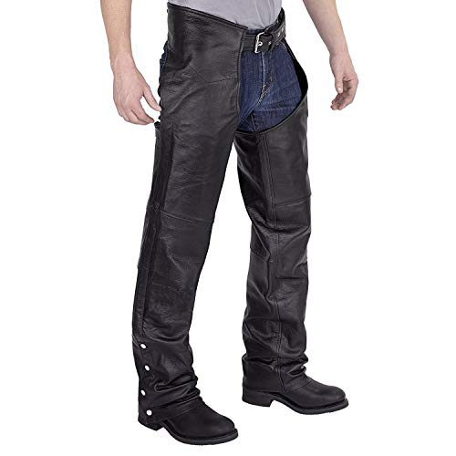 Black leather chaps from the front