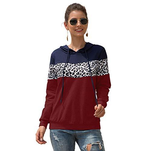 HOSD Camiseta con Estampado de Leopardo y Costuras con Capucha y cordón para Mujer