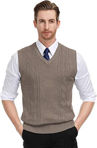 Coshow Herren Pullunder V-Ausschnitt Trachtenweste ärmellos Business Weste Einfarbig Wollweste für Männer