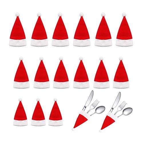 Cxssxling - Juego de 18 cubiertos navideños para cenas, cuchillos, tenedores, cucharas, decoración de mesa de Navidad, para árbol de Navidad, botella de vino y decoración de despertar