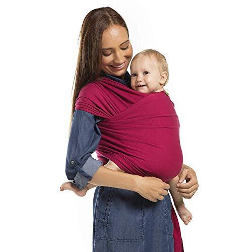 Boba Baby Wrap - Sangria - das elastische Tragetuch aus weichem Sommersweat, sehr einfach zu binden, ideal für Neugeborene und Kleinkinder bis 16kg