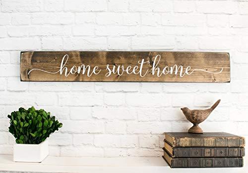 Yohoba Home Sweet Home Cartel rústico de Madera para decoración de Pared de hogar y Familia