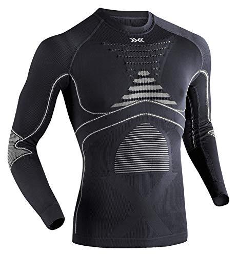 X-Bionic Energy Accumulator Origins Long Sleeve Shirt Men - Camiseta de compresión para Hombre, Hombre, EA-WT17W18M, Charcoal/Pearl Grey, FR : XL (Taille Fabricant : L/XL)