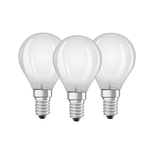 Osram LED Base Classic P Lampe, in Tropfenform mit E14-Sockel, nicht dimmbar, Ersetzt 40 Watt, Matt, Warmweiß - 2700 Kelvin, 3er-Pack
