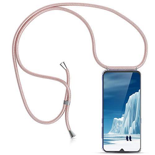 Carcasa de movil con Cuerda para Colgar Xiaomi Redmi 7 -Funda para iPhone/Samsung/Huawei con Correa Colgante para Llevar en el Cuello -Hecho a Mano en Berlin[Transparente TPU Case/Oro Rosa]