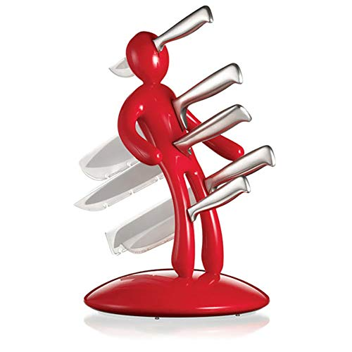 FSYG Cuchillo Conjunto Casa 5 Agujero Inoxidable Acero Cuchillo Bloquear Estar Cuchillo Almacenamiento Estante Poseedor Cocina Utensilio Aprox