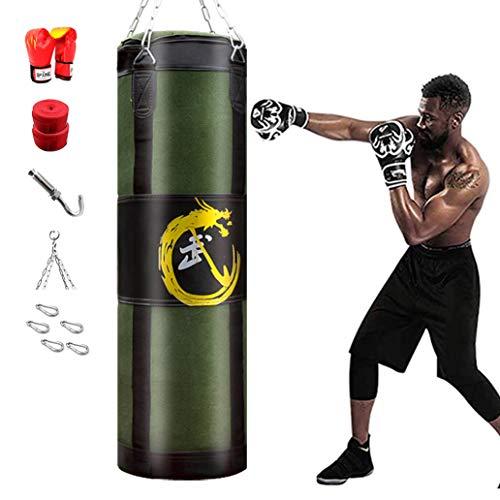 WZYJ Saco De Boxeo De Boxeo Hueco, Saco Pesado Sacos De Boxeo Pesados Entrenamiento Y Fitness Saco Pesado Uppercut Workout Grappling Saco De Boxeo MMA,100CM