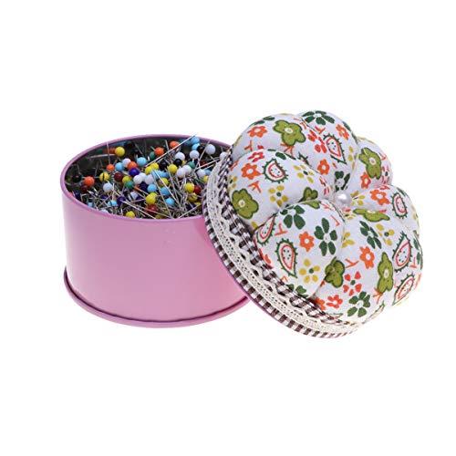NUOBESTY - Alfileres rectos de cabeza de bola multicolor, 500 unidades, para costura y manualidades con caja de almacenamiento, cojín para costura y proyectos de manualidades de 38 mm
