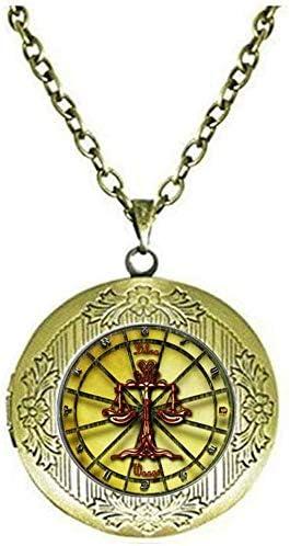 Libra Zodiac Sign Locket Necklace - Charm Good Luck Astrology Horoscope Jewelry