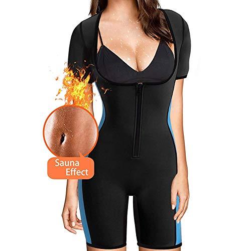 Denise Lamb Sport Fitness Jumpsuit Frauen Sauna Trainingsanzug Neopren Abnehmen Shapewear Ganzkörper Shaper Geeignet für Übung Übung Routine Fitnessstudio Kostüm (Color : Black, Size : XL)