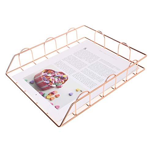 Bhty235 Revistero archivador, plegable de hierro forjado, soporte de revista, bandeja de almacenamiento para organizador de escritorio suministros, color oro rosa