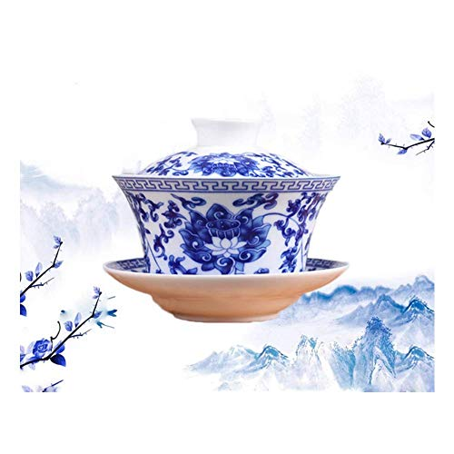 Jingdezhen Lotus Design Chinese Gaiwan Traditional Chinese Teaware China Traditional Blue and White Porcelain Large Gaiwan Kungfu Teacup by DELIFUR (350 ml)
