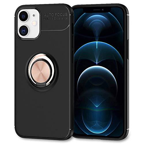 NALIA Ring Handyhülle kompatibel mit iPhone 12 / iPhone 12 Pro Hülle, Silikon Cover mit 360-Grad Finger-Halter für magnetische KFZ-Halterung, Schutzhülle Phone Case Handy-Tasche, Farbe:Rose Gold