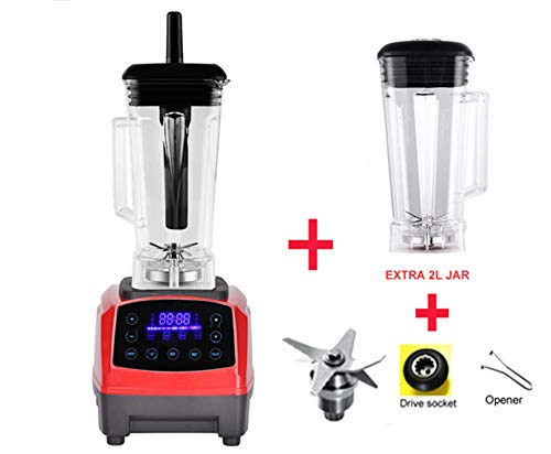 Automatic Digital Smart Timer Program 2200W Heavy Duty Power Blender Mixer Juicer Food Processor Ice Smoothie Bar Fruit,Red jar full parts,EU Plug