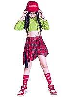 キッズダンス衣装 ガールズ アガール 衣装 セットアップ キッズ ダンス 衣装 トップス チェックスカート キッズダンス 派手 韓国風 かっこいい 女の子 hiphop jazz オシャレゆったり チーム お揃い 発表会 (トップス+スカート+帽子+靴下,130)