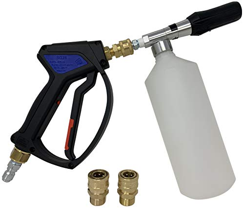 Foam Cannon with Spray Gun Power Washer Attachments and Fittings to Work with Most Electric Power Washer Brands, Foam Gun Pressure Washer Accessories to Make Your Car Cleaning Kit Complete