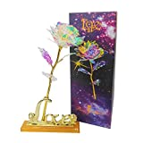 KIRIFLY Galaxy Rose Gifts Fake Roses Flowers Gold Eternal Rose Colorful Plastic Forever Flower Birthday Anniversary Engagement Gifts for Women (Love Base Stand)