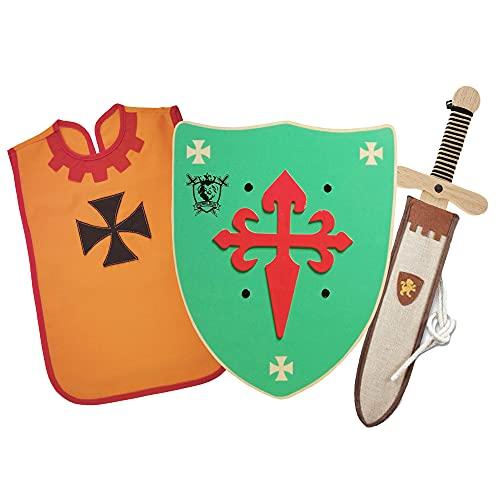 HERALDUM Espada y Escudo para Niños de Madera,Incluye Funda,Conjunto Caballero Medieval Templario