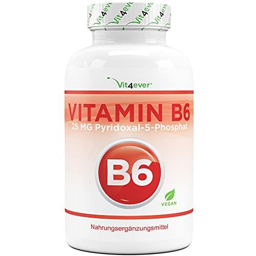 Vitamin B6 als P-5-P - 240 Tabletten extra hochdosiert mit 25 mg (Pyridoxal-5-phosphat) - Premium: Bioaktives Vitamin B6 - Laborgeprüft - Ohne unerwünschte Zusätze - Vegan
