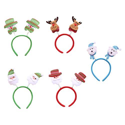 OSALADI Pack of 5 Christmas Headband Christmas Santa Reindeer Snowman Bear Cartoon Headband Party Hair Band for Christmas Costume Party Supplies