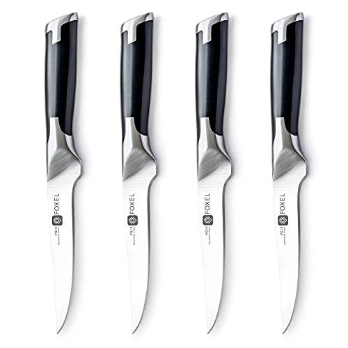 VG10 Steak Knives Knife Set of 4, 8, or 12 - Non Serrated Straight Edge Blade Razor Sharp - Premium Steel - Gift Box Set -Hand Wash Only
