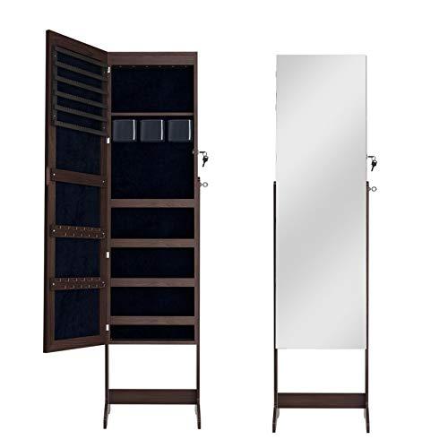 DlandHome Armario para joyas con espejo de longitud completa, armario de pie con cerradura y espejo ajustable en ángulo de almacenamiento, color marrón
