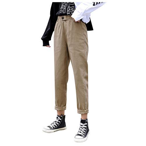 Femme Pantalon Lin Coton Ample Carotte Pantalon de Cheville Taille Élastique Casual Sarouel Confortable Baggy Sport Yoga Pants Bluestercool