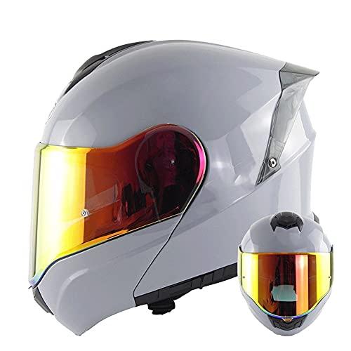 Casco Modular para Motocicleta Casco Integral Dot/ECE Homologado Cascos Moto integrales para Mujer Hombre Adultos con Doble Visera (Color : White D, Size : L/Large 57-58cm)