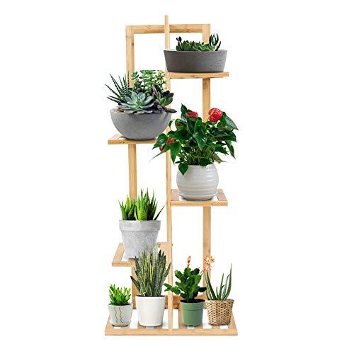 Cadeaux de mai Support d'usine de fleurs, présentoir solide d'étagères en bois de support d'usine de bois(5 Tiers)