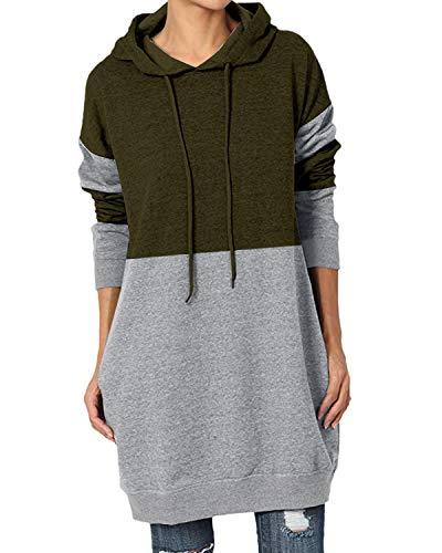 Kidsform Femme Robe Sweat Grande Taille Sweatshirt à Manches Longues Robe Pull avec Capuche Lahce Patchwork Casual C-Armée Verte L