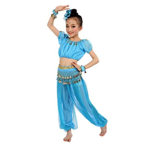 YWLINK 6PC Hechos A Mano NiñA Trajes De Danza Vientre Egipto PañO De La Danza ActuacióN Danza India Evento Festival Arriba+Los+Pantalones+Cadena De La Cintura+Pulsera+Flor De La Cabeza(Azul Claro,M)