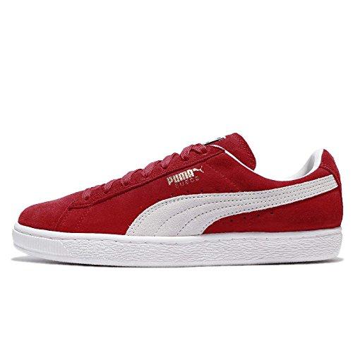 PUMA Herren Sneakers Suede Classic+ – Turnschuhe aus Velours-Leder, Klassiker für einen sportlichen Lifestyle Suede Classic+ high Risk red-White UK 10_Adults_FR 44.5