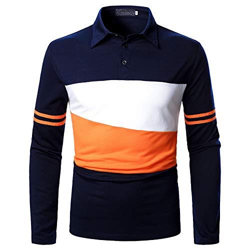 Derrick Aled(k) zhuke Polo para Hombre Costura De Solapa Manga Larga OtoñO Camiseta para Hombre Tres Colores Tops A Juego Moda Informal De La Calle