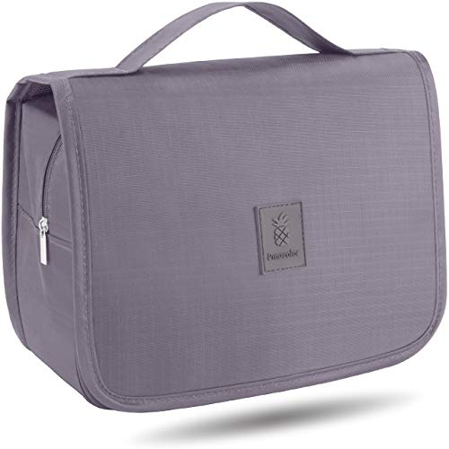PINACOLOR Beauty Case da Viaggio da Appendere Media Grandezza 3,5 litri | Trousse in Materiale Impermeabile con Gancio Metallico e Robuste Cerniere (Grigio)